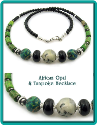 African Opal, Turquoise and Onyx Bead Necklace