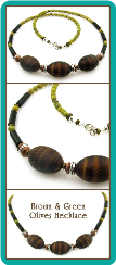 Brown and Green Olives Men's Bead Necklace