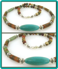 Turquoise Oval and Picasso Jasper Tube Bead Necklace