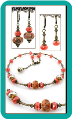 Coral and Brown Lampwork and Crystal Necklace