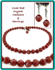 Coral Red Crystal Necklace & Earrings