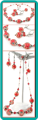 Coral Pink Tensha Flower Bead Necklace and Earrings