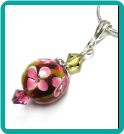 Fuchsia and Olive Floral Lampwork Pendant
