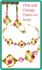 Pink and Orange Posies Necklace & Earring Set