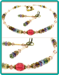 Pink Opal Crystals Necklace and Earrings
