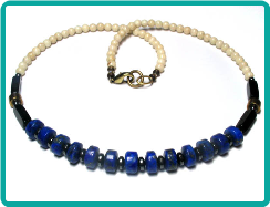 Lapis and Riverstone Handmade Bead Necklace