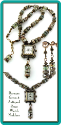 Baroque Green & Antiqued Brass Watch Necklace