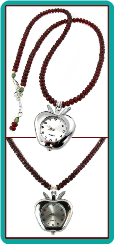 Apple Watch Necklace with Dark Red Faceted Beads