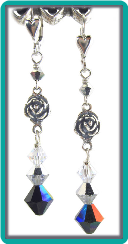 Silver Rose and Jet Crystal Earrings