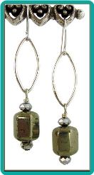Golden Pyrite and Crystal Marquis Earrings