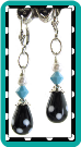 Black and White Dotted Teardrop Earrings