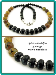 Golden Crabfire and Onyx Men's Bead Necklace