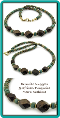 Bronzite Nuggets and African Turquoise Handmade Necklace