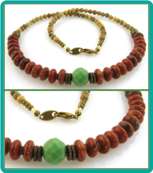 Turquoise, Red Jasper and Picture Jasper Men's or Women's Bead Necklace