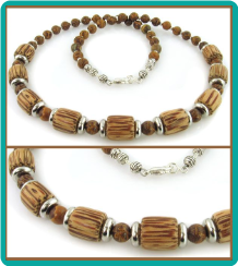 Wood and Tiger Jasper Men's Bead Necklace