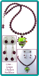 Lime-Grape Lampwork Chicken Necklace & Earrings