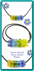 Summer Crystals Woven Cylinder Necklace