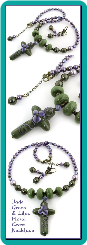 Jade Green and Lilac Floral Cross Beaded Necklace
