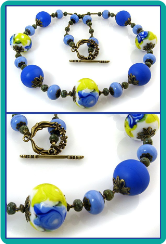 Cobalt Blue and Yellow Floral Lampwork Necklace