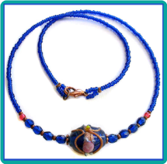 Royal Blue Wedding Cake Necklace