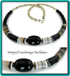 Striped Sardonyx Handmade Beaded Necklace