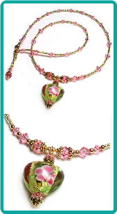 Pink and Gold Fantasy Heart Necklace