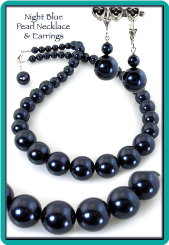 Night Blue Pearl Necklace & Earrings