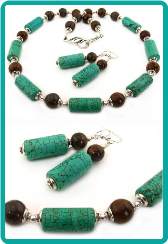 Turquoise and Bronzite Necklace Set