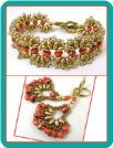 "Gold and Coral ""Bollywood"" Fan Bracelet and Earrings"