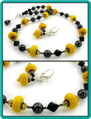 Maize and Jet Lampwork Bead Necklace