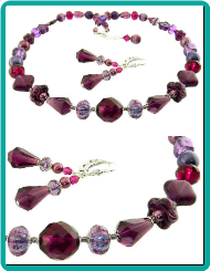 Concord Grape Collage Necklace and Earrings