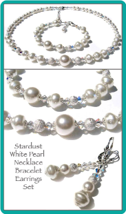 Stardust White Pearl Necklace Set