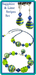 Sapphire and Lime Stripes Necklace Set